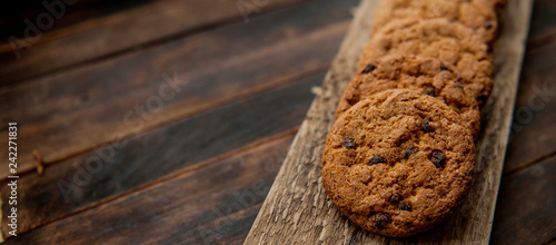 Foto op Plexiglas Koekjes oatmeal cookies with chocolate chips