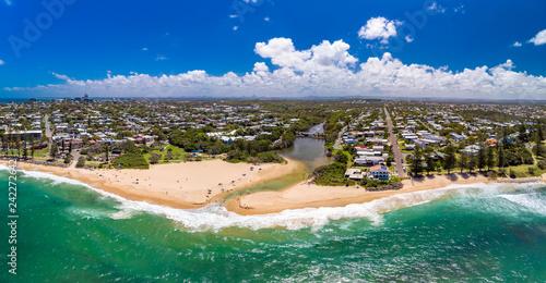 Poster Cote Aerial panoramic images of Dicky Beach, Caloundra, Australia