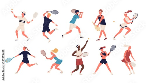 Photo Collection of men and women dressed in sports apparel playing tennis