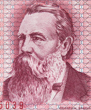 Friedrich Engels On East German 50 Mark (1971) Banknote Closeup Macro. Famous Socialist Philosopher, Communist, Social Scientist, Collaborator Of Karl Marx In The Foundation Of Modern Communism..