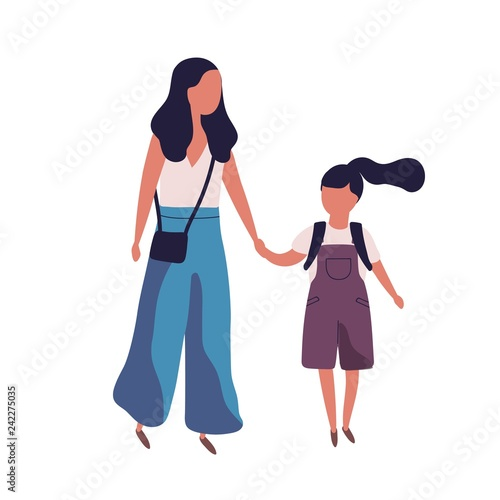 Photo Mother leading her daughter to school