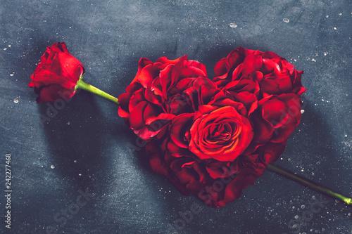 Foto auf AluDibond Roses Heart-shaped roses and rose flower.