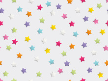 Festive Colorful Star Confetti Seamless Pattern On White Background. Vector Illustration.