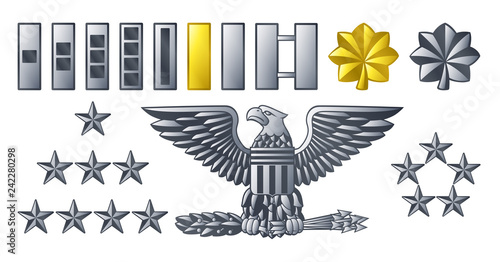Fotografía Military American army officer ranks insignia badges icons