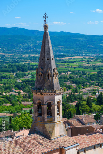 Old church dome and valley view in Saint Saturnin Les Apt, France Canvas Print