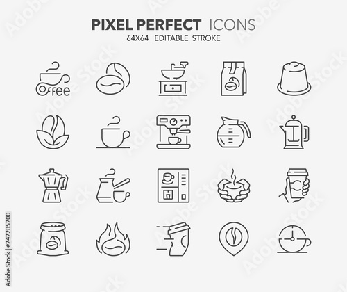 coffee thin line icons Fototapeta