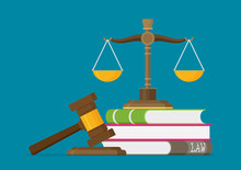 Justice Scales And Wooden Judg...