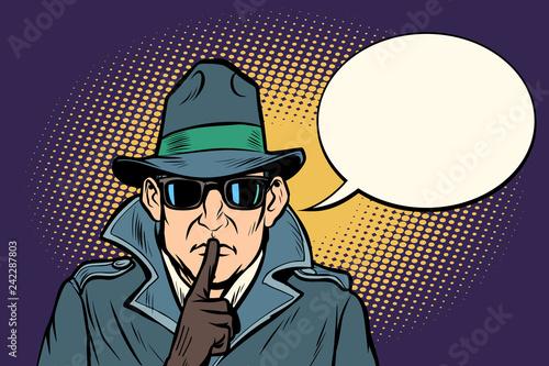 spy shhh gesture man silence secret Wallpaper Mural