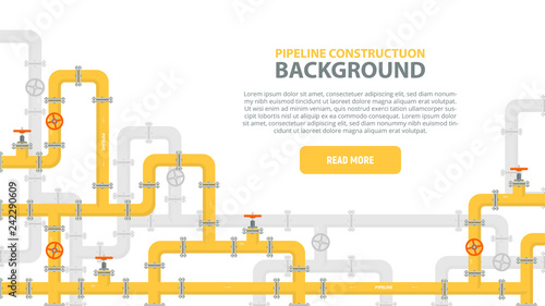Fototapeta Industrial background with yellow pipeline. Oil, water or gas pipeline with fittings and valves. Web banner template. Vector illustration in a flat style. obraz