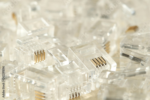 Fotografía  Transparent ethernet internet rj-45 connectors