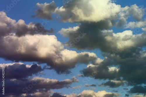 Fotografía  marvellous colorful soft cloudy sky for using in design as background