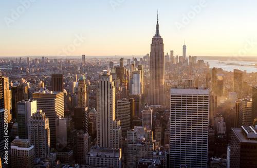 Fototapeten New York Sun set over New York City
