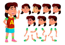Asian Girl, Child, Kid, Teen Vector. Schoolchild. Face Emotions, Various Gestures. Animation Creation Set. Isolated Flat Cartoon Character Illustration
