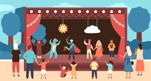 Street Theatre For Children With Actors Dressed In Costumes Performing Play Or Fairytale In Front Of Audience. Outdoor Theatrical Performance For Kids. Vector Illustration In Flat Cartoon Style.