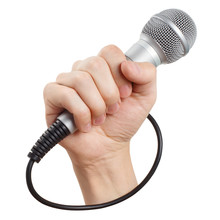 Male Hand Holding A Microphone, Isolated On White Background