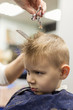 Little boy at the hairdresser. Child is scared of haircuts.