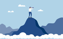 Business Man Standing On Top Of Mountain Above Clouds Cliff Using Binoculars Looking For Success