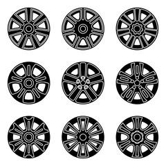 Car wheel trims icon set. Vector illustration