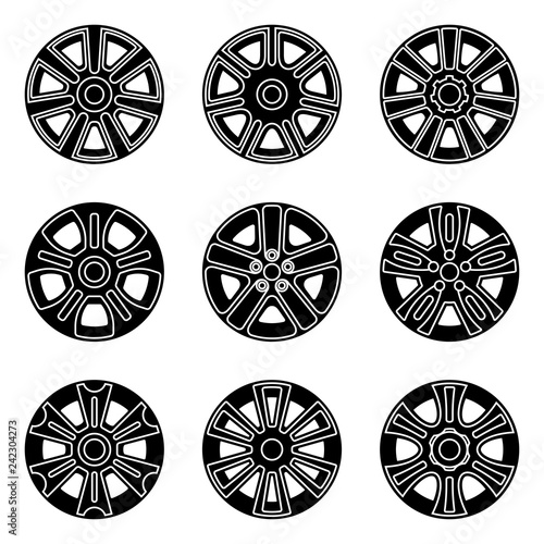 Fotografie, Obraz  Car wheel trims icon set. Vector illustration