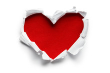 Heart Shaped Red Hole Torn Through Paper, Isolated On White Background