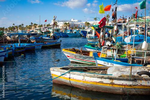 Boats in a fishing port in Mahdia, Tunisia.