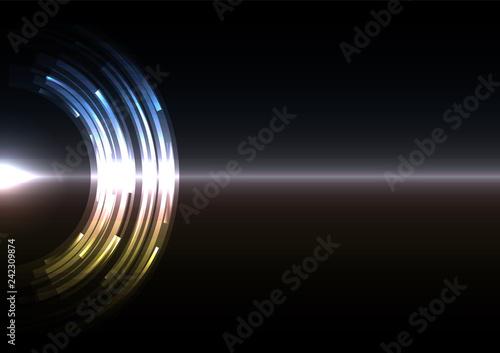 Fotografía  metallic abstract circle background, digital overlap layer line, simple technolo