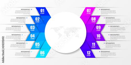 Papel de parede  Infographic design template. Creative concept with 12 steps