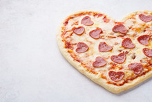 Heart Shaped Pizza With Pepperoni For Valentines Day.