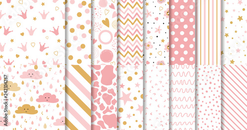 obraz PCV Set of cute sweet pink seamless patterns Wallpaper for little baby girl Pink background collection