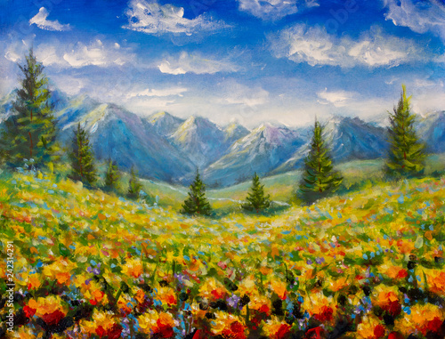 Recess Fitting Honey flowers field and pine trees near mountains landscape illustration fie art on canvas painting artwork