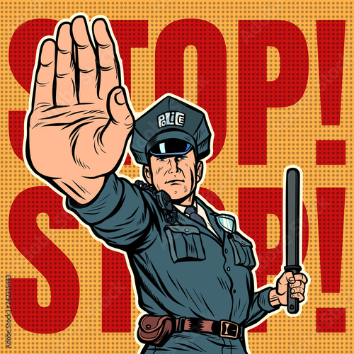 Photographie  police officer stop gesture