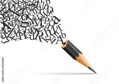 Concept de l'écriture et de la littérature avec un crayon duquel s'échappe les lettres de l'alphabet symbole de l'inspiration Tableau sur Toile