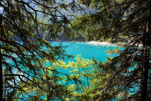 Fotobehang Liguria The Pragser Wildsee at daylight