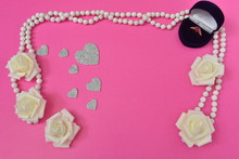 Gold Ring Of Pearls Hearts Roses White Blue Pink