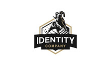 Strong And Dynamic Vector Ram Logo. This Dynamic Design Evokes Strength, Maturity And Responsibility.