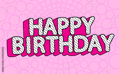 Fototapeta Happy birthday banner text with hot pink shadow themed party LOL doll surprise