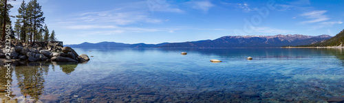 Photo Stands Night blue Lake Tahoe panoramic mountain landscape scene in California