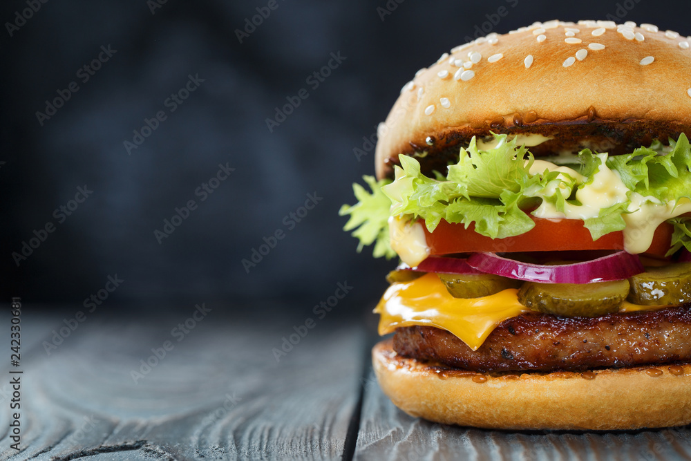 Fototapety, obrazy: Close-up of delicious fresh home made burger with lettuce, cheese, onion and tomato on a dark background
