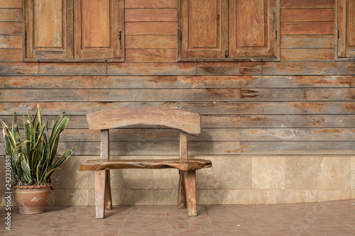 Fine The Bench And Old Vintage Wooden Window In Wood Wall Onthecornerstone Fun Painted Chair Ideas Images Onthecornerstoneorg