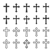 Christian Cross Icons Filled And Outlined Concept Design