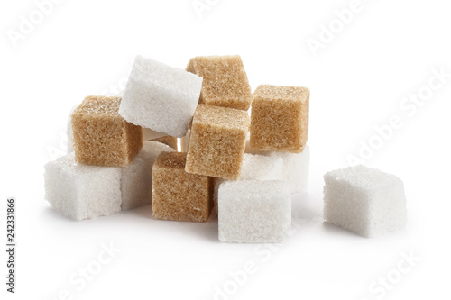 Fototapeta White and brown sugar cubes, isolated on white background obraz