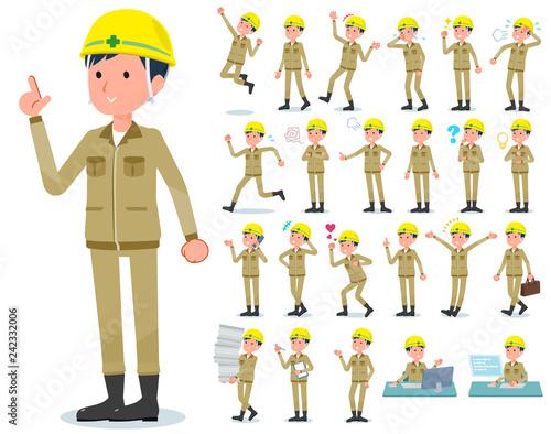 Carta da parati flat type helmet worker men_emotion