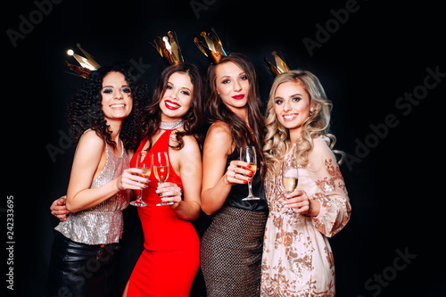 660d35f1de1 Four young beautiful women together celebrating party - Buy this ...