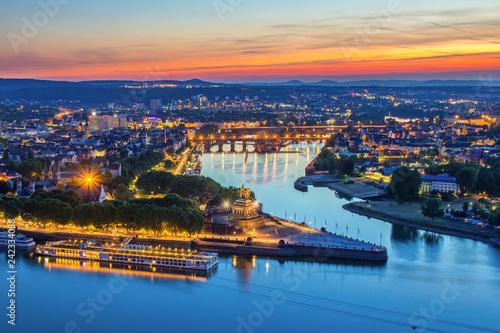 Photo Stands Ship Deutsches Eck in Koblenz, Deutschland