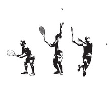 Group Of Tennis Players, Set O...