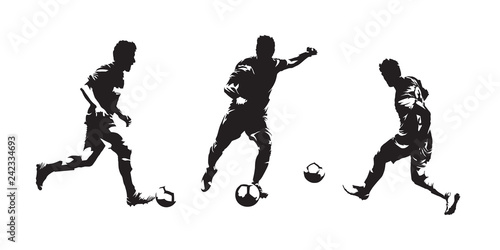 Stampa su Tela Group of soccer players isolated vector silhouettes