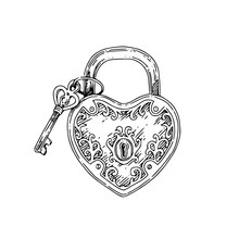 Heart-shaped Padlock And Key. ...