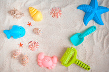 Toys For Playing With Sand. View From Above