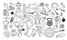 Cartoon Fitness Doodles On White Background. Vector Illustration