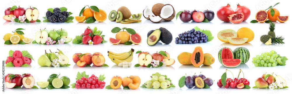 Fototapety, obrazy: Früchte Frucht Obst Collage Apfel Orange Banane Orangen Äpfel Ananas Zitrone biologisch Freisteller freigestellt isoliert